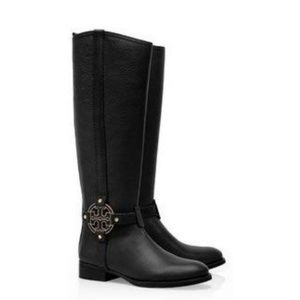 Tory Burch Amanda Riding Boot Black Leather 7